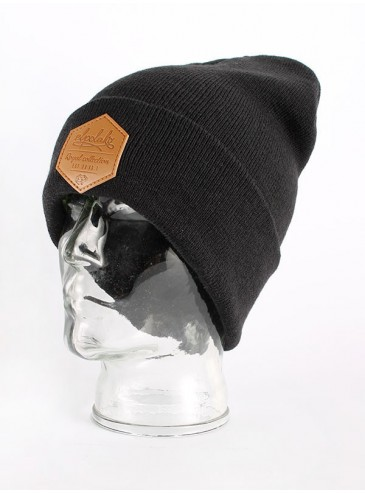 El Polako Leather Beanie Black