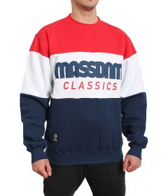 Mass Denim Bluza Sweatshirt Classic Cut crewneck navy / red