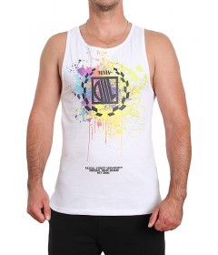 Diil Gang Tank Top Paint White