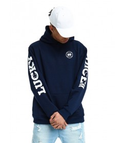 Lucky Dice Hoodie Logo On Sleeve Navy