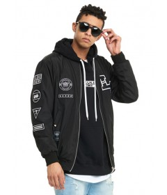 Lucky Dice Bomber Jacket Emblems Black