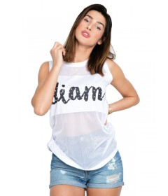 Diamante Wear Tank Top Mesh 'Diam' White